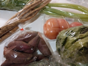 道の駅めぐりで買ったお野菜。新ごぼう158円 セロリ98円 レタス98円 トマト128円 シルクスイート(いも)158円 ブロッコリー98円